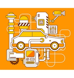 industrial of the mechanism of car vector image