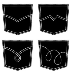 Jeans pocket black symbols vector