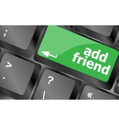 Keyboard with add friend button social network vector image