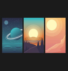 landscapes set with forest space mountain river vector image