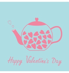 Love teapot with hearts Happy Valentines Day card vector image