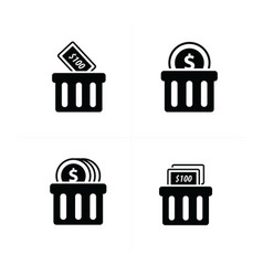 Money shopping cart icon set vector