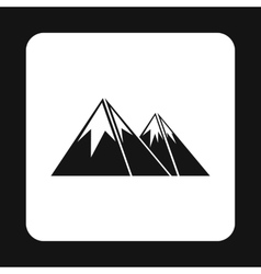 Mountains icon in simple style vector