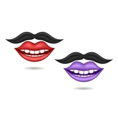 Purple and red lips vector image