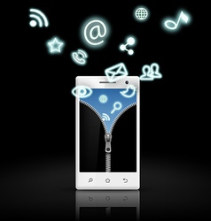 screen smart phone with a picture of a zipper and vector image vector image