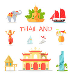 Set of icons with thailand national symbols vector