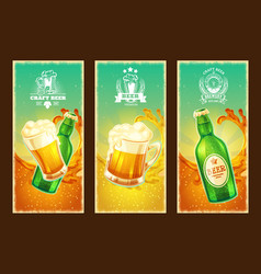 Set of isolated cartoon banners with beer vector
