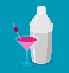 Shaker with pink coctail flat design vector