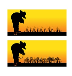 Silhouette of an asian woman planting rice vector