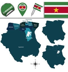 Suriname map with named divisions vector