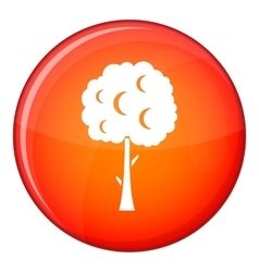 Tree with spherical crown icon flat style vector