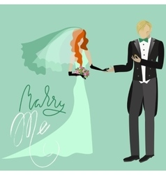 Wedding Card in Retro Style Marry Me Grunge vector image