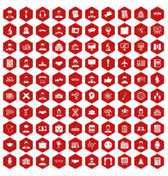 100 intelligent icons hexagon red vector