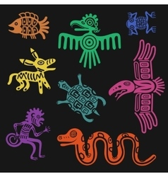 Aztec symbols or inca pattern culture signs vector
