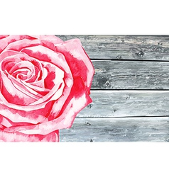 Wooden texture with watercolor rose vector