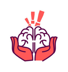 Brain in hands with exclamation mark above vector