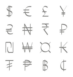 Set of monochrome icons with currency symbols vector