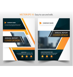 Orange black annual report brochure design vector