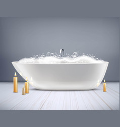 bathtub with foam 3d vector image