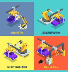 Car production phases automated machinery line vector