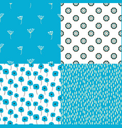 Bright blue and white flowers and abstract shape vector