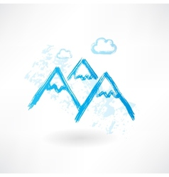 mountains grunge icon vector image