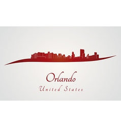 Orlando skyline in red vector