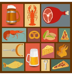Beer snacks set icons for creating your vector