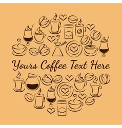 Coffee time emblem of coffee icons vector