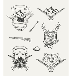 Set of hunt emblems badges labels and designed vector