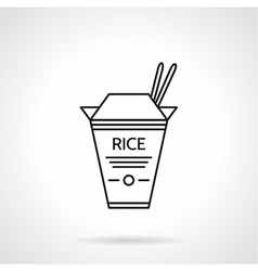 Rice pack black line icon vector