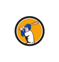 American Baseball Player Batting Circle Cartoon vector image