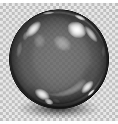 Big black transparent glass sphere vector
