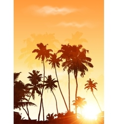 Orange sunset palms silhouettes poster background vector