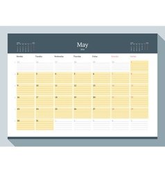 May 2016 monthly calendar planner for 2016 year vector