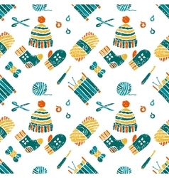 Seamless pattern on a knitting theme things vector image