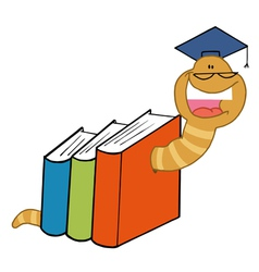 Worm crawling through books vector