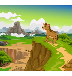 Funny hyena cartoon with beauty mountain landscape vector