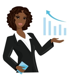African american business woman pointing to vector