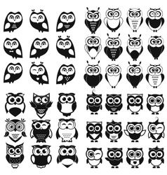 Black and white owl and owlet se vector