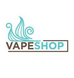 blue vape shop emblem vector image