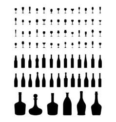 Bowls bottles and glasses vector