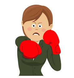 Business woman punching wearing boxing gloves vector