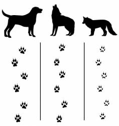 Canine tracks and silhouettes vector