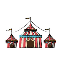 Circus tent tops stripes flag on top vector