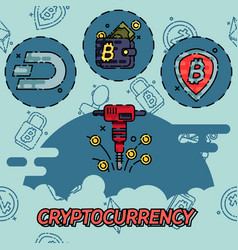 Cryptocurrency flat concept icons vector