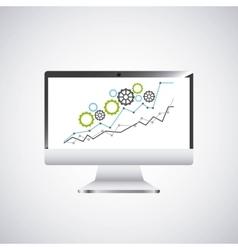 economy growth desktop computer technology icon vector image vector image