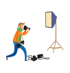 Flat man and photo equipment set vector