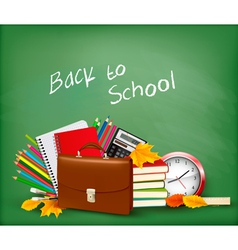 Green background with school supplies vector image vector image