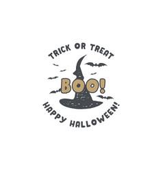 Halloween badge vintage hand drawn logo design vector